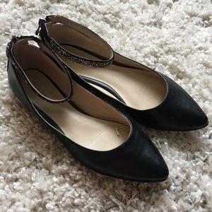 BCBG Black Pointed Sparkle Ankle Strap Flats 8
